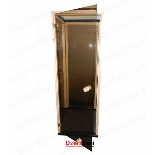 Дверь АКМА 600*1800 Бронза матовая 8мм 2 петли (ручка кноб) коробка осина