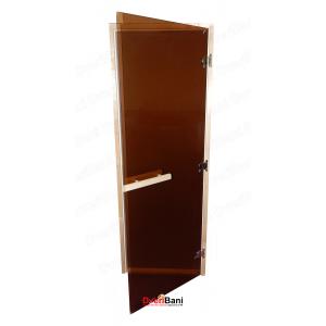Дверь стеклянная 700*1900, 8мм, бронза, лиственная коробка
