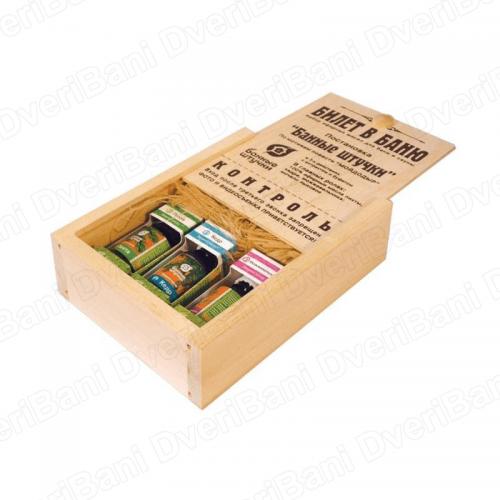 Набор эфирных масел `Билет в баню` в деревянной коробочке `Банные штучки` арт.32158