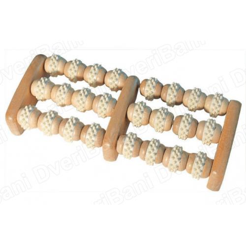 Массажер деревянный для ног, роликовый 20*16*5 см `Банные штучки` арт.40051