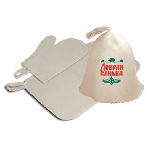 Набор 3 предмета (шапка Добрая баня,рукавица,коврик) `Банные штучки`арт.41090