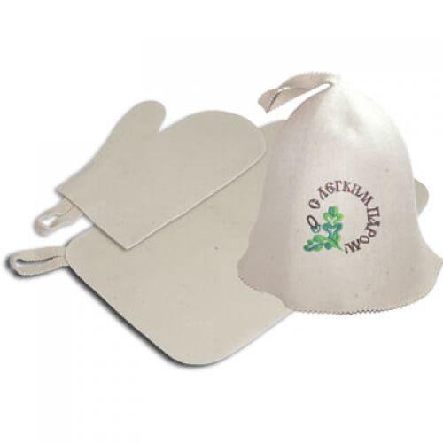 Набор 3 предмета (шапка С легким паром,рукавица,коврик) `Банные штучки`арт.41086