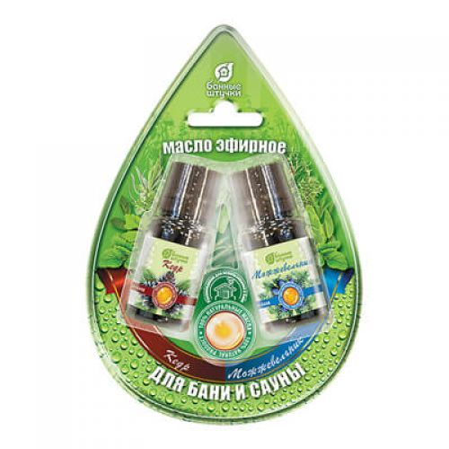 Набор эфирных масел `Кедр и можжевельник` в блистере в форме капля `Банные штучки` арт.32370
