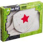 Набор 2 предмета (шапка Буденовка белая,коврик) в подарочной коробке`Hot Pot`арт.41128