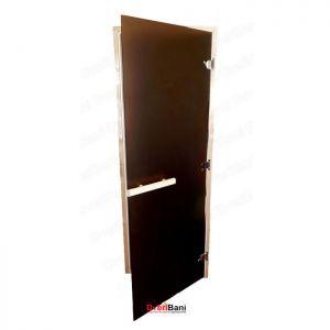 Дверь стеклянная 700*1900, 8мм, матовая бронза, лиственная коробка