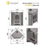 Печь-Камин ВЕЗУВИЙ ПК-01 (220) угловой красн. 9 кВт (150 м3)