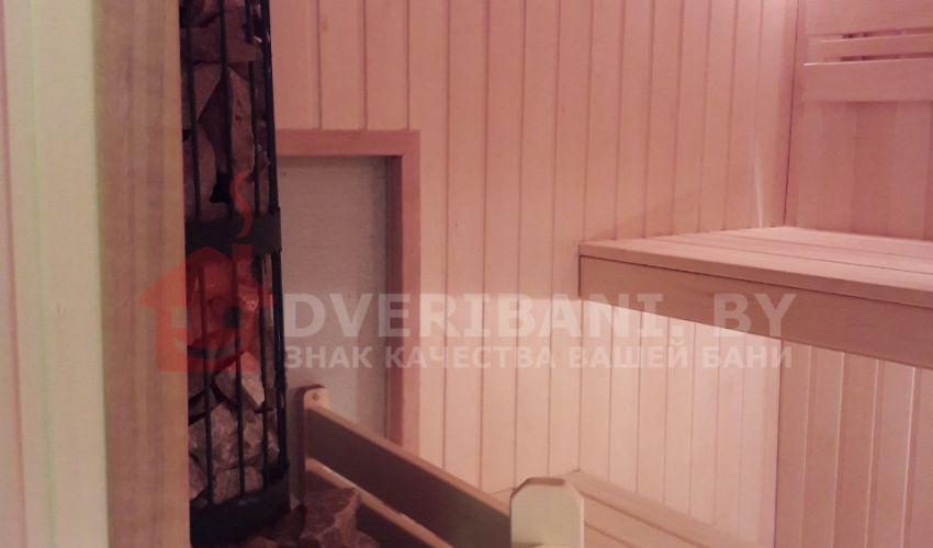 Отделка парилки 2,1 х 2,6 с печью ЭТНА 18 (Панорама)
