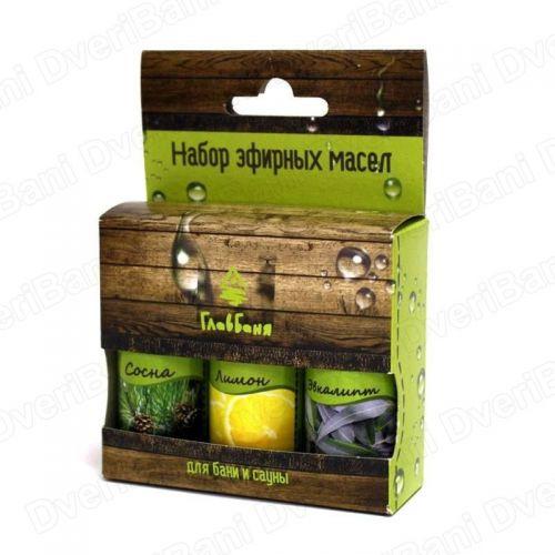 Набор масел эфирных косметических (сосна,лимон,эвкалипт), 3х17мл