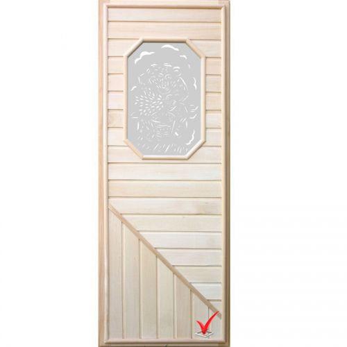 Дверь DOORWOOD 750*1850 Вагонка со стеклом 8ми угольным, коробка липа