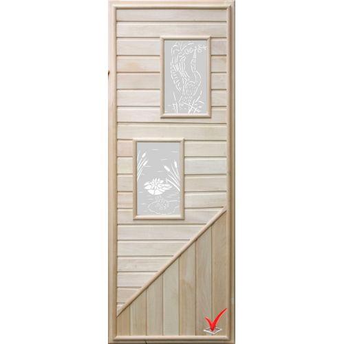 Дверь DOORWOOD 750*1850 Вагонка 2 стекла прямоугольн, коробка липа
