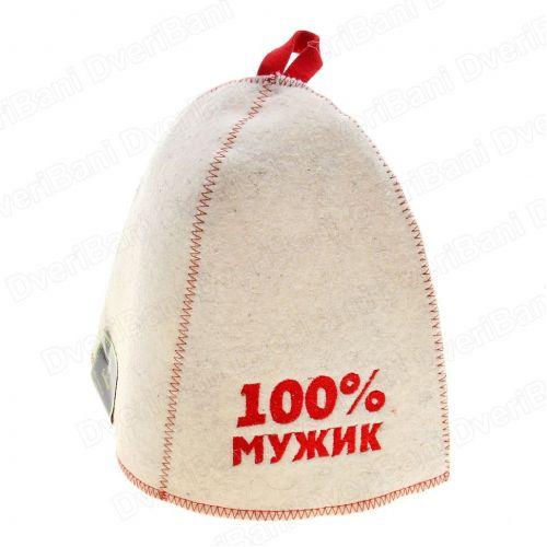 Шапка банная `100% мужик`, войлок белый